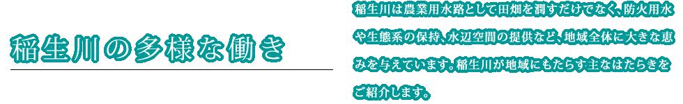 稲生川の多様な働き
